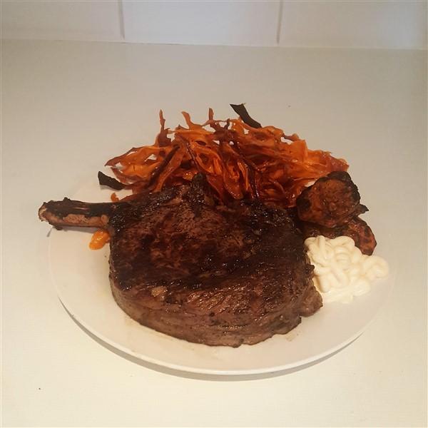 026 - Big BBQ Steak w/ Sweet Potato Curly Fries