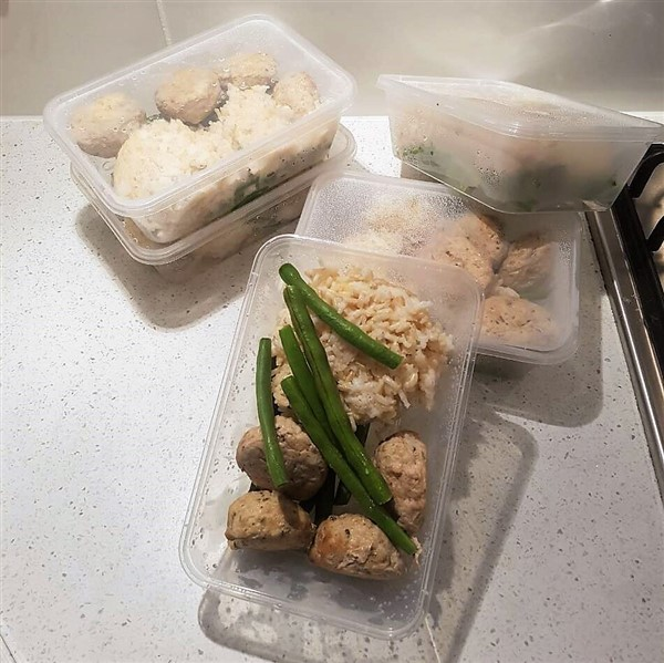 027 - Thai Chicken Meatballs w Coconut Rice and Green Beans